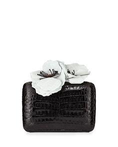 Poppy-Topped Crocodile Box Clutch Bag, Black/White by Nancy Gonzalez at Neiman Marcus.