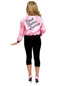 Printed Satin Jacket Pink Ladies Adult   Wholesale 50's Halloween Costumes for Womens