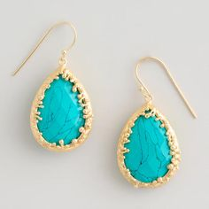 Gold and Turquoise Teardrop Statement Earrings $12.99