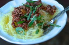 spaghetti squash with meat sauce