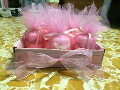 Bomboniere candeline con tulle per una nascita