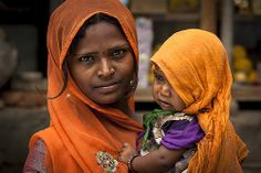 #18 Women Faces: Mother and her son in Sadari village   India