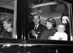 January 1, 1961. (From left to right) HRH Charles, Prince of Wales, HRH Prince Philip, Duke of Edinburgh, HRH The Princess Anne, currently HRH Anne, Princess Royal, HM Queen Elizabeth II and HRH The Prince Andrew, currently HRH Prince Andrew, Duke of York were photographed returning home from their annual Christmas Holiday at Sandringham.