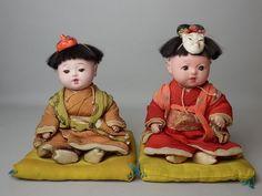 4SY JAPANESE ANTIQUE PAIR ICHIMATSU NINGYO BOY GIRL PLAY DOLL SILK KIMONO GOFUN