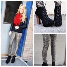 Unleash your inner jungle cat with these leopard pants $54.50. Add a stylish bomber jacket for $58.50 and complete the outfit with a fringe scarf $22.50, a tank $12.50 and cute black booties $48.50 to match!