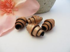 4 Rolled Copper Polymer Clay Beads by NeeNeeReeBeads on Etsy