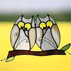 Stained glass owl suncatcher stain glass love bird owls owls #StainedGlassOwl