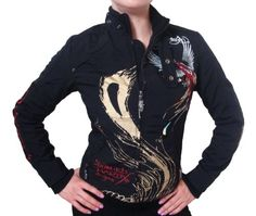New Ed Hardy by Christian Audigier Womens Panther & Roses Tattoo Moto Jacket, EHJW6011 $59.99