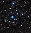 Stars in the cluster NGC 2547. The cluster is in the constellation Vela (the sail). These bright blue stars are quite young, between 20-35 million years old. This doesn't sound young, but our Sun is middle-aged at 5 billion years, so these stars are just babies. (Image: MPG/ESO 2.2-metre telescope at the La Silla Observatory in Chile)