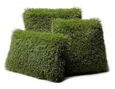 Hah! These pillows are synthetic turf on one side and weather-resistant Sunbrella fabric on the other. What a fun addition to the garden hangout. If someone keeps stealing your pillow just flip it to the grass side and it'll be properly camouflaged. Created by Firmly Planted in Valley Village, CA