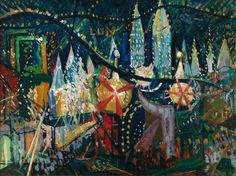 """Coney Island"" Joseph Stella—one of the first American artists to glorify the new technologies of urban modernity—was born today in 1877. See more of the artist's work in Where We Are: Selections from the Whitney's..."