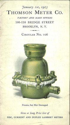 Thomson water meter catalog, 1923