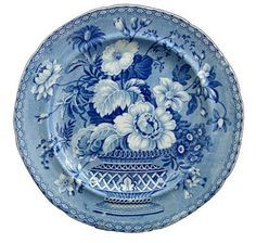 Wonderful blue plate made in Stoke on Trent century- amazing pattern Blue And White China, Blue China, Love Blue, Dark Blue, Blue Dishes, White Dishes, Himmelblau, Stoke On Trent, Blue Plates