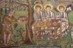 Abraham and the three angels. (Hebrew scriptures pre-figuring of Holy Trinity.) A mosaic in Ravenna. Ravenna Mosaics, Byzantine Art, Sacred Art, Medieval, Christian Art, Interesting Faces, Religious Art, Mosaic Art, Art History