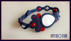 ELEGANT SAILOR Soutache Bracelet with Nacre, Coral and Pearls - Antidotum- Craftwork- Handmade- Soutache Jewellery