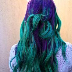 Hair color goodness Uniquely ombré color palette of purple and green hair color. Green Hair Ombre, Purple And Green Hair, Green Hair Colors, Hair Color Purple, Hair Color And Cut, Hair Dye Colors, Blue Hair, Unique Hair Color, Emerald Hair