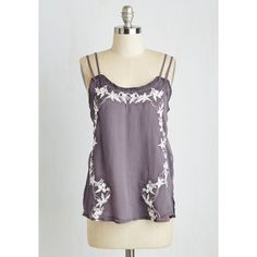 Mid-length Spaghetti Straps Meet Me ($35) ❤ liked on Polyvore featuring tops, apparel, purple, sleeveless woven, woven top, spaghetti strap top, sheer embroidered top, sleeveless tank tops and purple tank top