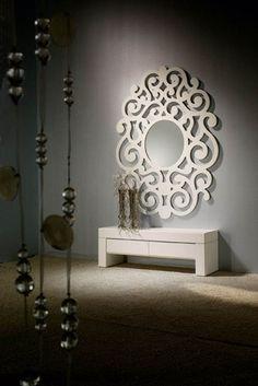 Miroirs design: modèle CASSANDRA (blanc grand)