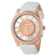 Kenneth Cole Rose Gold Roman Numeral Dial White Leather Women's Watch from premiumgoods. Cool Watches, Watches For Men, Gold Everything, Thomas Sabo, Look Chic, Michael Kors Watch, White Leather, Gold Watch, Sunglasses Women