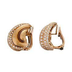 HENRY DUNAY Textured Gold & Diamond Earrings image 2