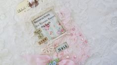 Vintage Rose Lace Collage Tag Mixed Media Art by underthenightmoon, $8.00
