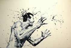 Can you believe this image was created by finger painting? Artist Paolo Troilo uses acrylic, black and ivory to make these incredible images.