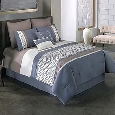 Get this Covington Modern Chic Bedding Set, which features colors like white, grey, dark blue, and brown colors on it along with a unique design and pattern. Luxury Duvet Covers, Luxury Bedding Sets, Chic Bedding, Blue Bedding, Nautical Bedding Sets, Home Bedroom, Bedroom Decor, Girls Bedroom, Bedroom Ideas