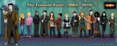 The 10th Doctor and Companions- Rose, Jackie, Mickey, Jack, Donna, Martha, Astrid, Wilfred, River, Jackson, Rosita, Christina, and Jennie.
