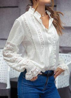Buy Cotton Blouses, Online Shop, Women's Fashion Cotton Blouses for Sale - Floryday Satin Blouses, Cotton Blouses, White Blouses, Blouse And Skirt, Lace Tops, Latest Fashion For Women, White Tops, Types Of Sleeves, Blouse Designs