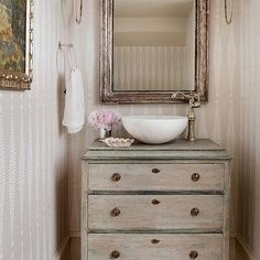 Small French Powder Room, French, Bathroom