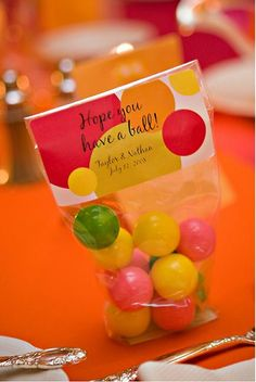 party favors, candy bags, gift, wedding favors, ball party, party stuff, diy projects, bubble gum, parti