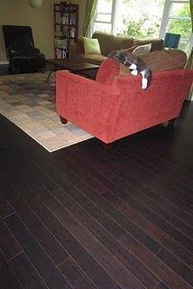 Dark bamboo floors in the living room