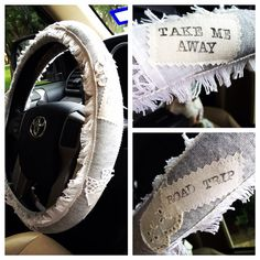 Grey and Lace Hippie Chic Non-Slip Steering Wheel Cover  on Etsy, $25.00 #boho #bohemian #roadtrip