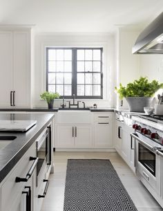really like the undermount farmhouse sink. Like the matte black hardware and the black windows.