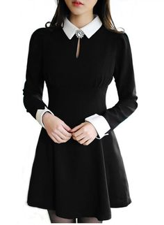 WEDNESDAY ADAMS COSTUME Anni Coco Long Sleeve Peter Pan Collar Party Dresses X-Large Black