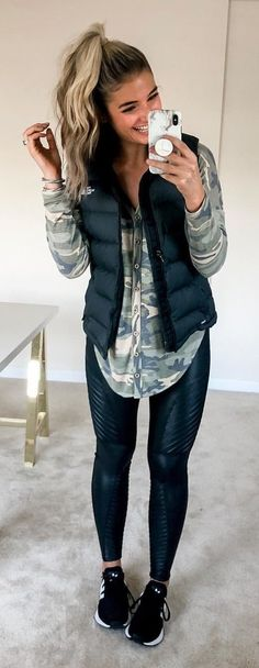 0d3cd085b2 Faux leather leggings. Puffer vest. Camo top. And add some boots instead of