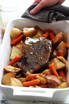 Juicy, tender slow cooked beef roast.