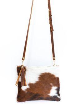 fd35d5ed14 Cowhide Crossbody - Brown   White Cowhide Fur Purse - Zipper and Tassel  Clutch - Brown Leather with Cowhide Bag - Cowhide Clutch