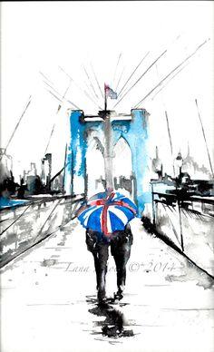 Watercolor London Love Print from Original Watercolor Illustration - Travel London Rain Umbrella Painting