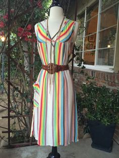 Vintage 70s Striped Rainbow Patio Dress. Retro Knee Length Dress by BoWinston on Etsy https://www.etsy.com/listing/231198650/vintage-70s-striped-rainbow-patio-dress