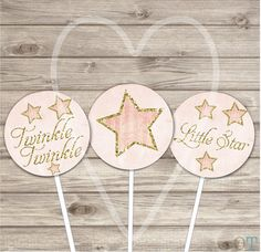 Twinkle Twinkle Little Star Cupcake Toppers Pink Gold by cardmint