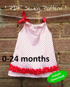 Cute Baby Girl's Pillowcase Top Pattern for ages 0 to 24 months - PDF sewing pattern, easy and quick to sew, handmade pattern. Make your own baby clothes #mummykinsandme