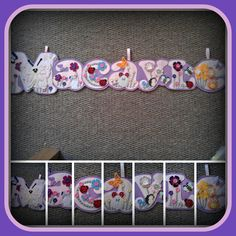 Macayle Name banner made out of pink and lilac felt, Large butterfly, decorated with flowers in yellow, green, pink, and lilac with matching buttons too. Finished off with little mice and a bee www.facebook.com/...