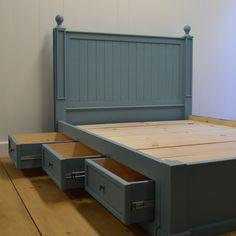 Beadboard Platform Bed with Drawers built and finished to order Diy Bedframe With Storage, Bed Frame With Storage, Diy Bed Frame, Storage Beds, Wood Storage, Bedroom Furniture Sets, Design Furniture, Bed Furniture, Bedroom Decor