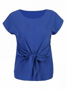 Shop Blue Short Sleeve Tie Front Blouse from choies.com .Free shipping Worldwide.$10.99