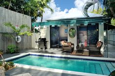 """Key West Rentals - 2BR 2BA - Sleeps 2-6 1/2 block off Duval Street Unique large private manicured pool-side garden. Everything about """"Down Island Digs"""" adds up to make a precious private garden cottage. Sitting in the mature tropical tree garden in the hidden back yard, you would never know you're just 1/2 block off Duval Street."""