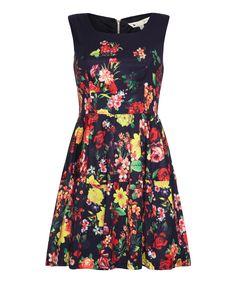 Yumi Blue Floral Sleeveless A-Line Dress | zulily