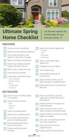 Keeping up with seasonal maintenance is important for making your home look its best. Print off our spring home maintenance checklist to get your house in tip-top shape after a long winter! home The Ultimate Spring Home Maintenance Checklist Home Improvement Loans, Home Improvement Projects, House Cleaning Tips, Spring Cleaning, Cleaning Checklist, Household Checklist, Cleaning Lists, Deep Cleaning, Household Tips