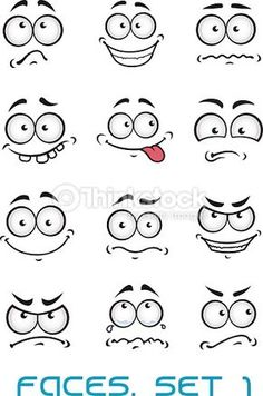 Cartoon faces with different emotions as happiness, joyful, comics,. - Arte vectorial : Cartoon faces with different emotions - Pebble Painting, Pebble Art, Stone Painting, Stone Crafts, Rock Crafts, Cartoon Drawings, Easy Drawings, Doodle Cartoon, Cartoon Eyes