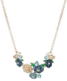 Betsey Johnson Gold-Tone Floral Cluster Glitter Collar Necklace